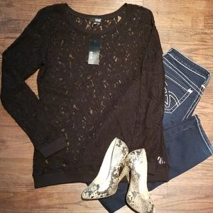 •ana black lace top•